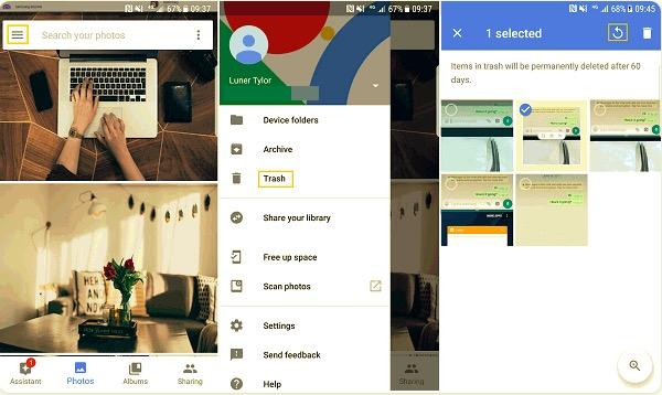 Recuperar fotos borradas en Samsung usando Google Photos