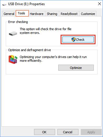 Para reparar una unidad flash dañada sin formatear mediante las propiedades de la unidad USB