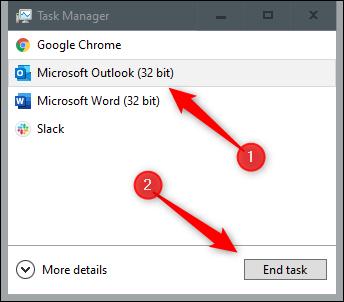Forzar el cierre de Outlook en su computadora antes de ejecutar la herramienta de reparación de correo electrónico