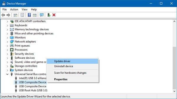 Actualice los controladores USB a través del Administrador de dispositivos para reparar una unidad flash dañada sin formatear