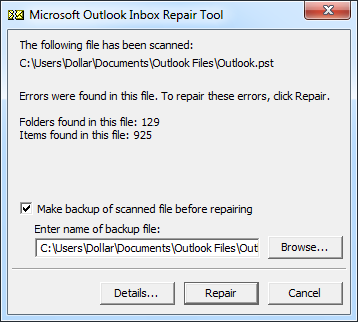 Haga una copia de seguridad del archivo escaneado antes de repararlo
